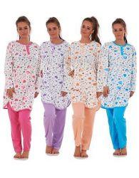 Ladies Long Sleeve Pyjama Set 100% Cotton Printed Crewneck Soft Loungewear L-3XL