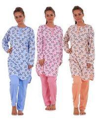 Ladies Pyjama Set 100% Cotton Rose Print Long Sleeve Crew Neck Lounge Wear L-3XL