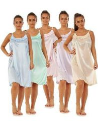 Ladies Satin Nightdress Sleeveless Short Strap Lightweight Nightwear M to XXXL