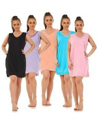 Ladies Sleeveless Nightwear Plain Summer Cotton Short Nightdress Shirt Top M-3XL