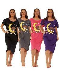 Ladies Nightwear Round Neck Star Moon Printed Short Sleeve Nightie Nightshirt