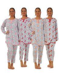 Ladies Fleece Pyjama Set Long Sleeve  Crew Neck Buttons Top Thermal Lounge Wear