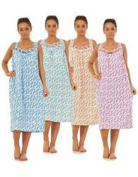 Ladies Floral Nightdress 100% Cotton V Neck lace strap Long Nightwear M to 3XL