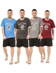 Men Pyjama Set Short Crew Neck Printed Cotton Blend Lounge Wear Nightwear MtoXXL