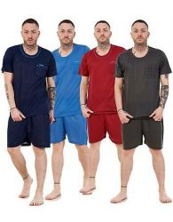 Mens Short Pyjama Set Pocket Crew Neck Cotton Blend Lounge Wear Nightdress M-XXL