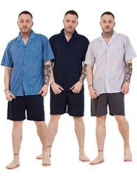 Mens Short Pajama Set Cotton Jersey Classic Check Lounge Wear Nightdress M-XXL