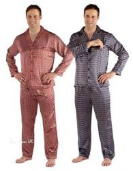 New Mens Satin Pyjamas Printed Classic Full Sleeve Nightwear Soft PJ's M to XXL