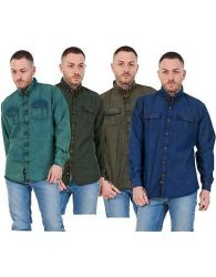 Mens Regular Denim Shirt Cotton Enzyme Powder Wash Flap Pocket Casual Top M-XXL