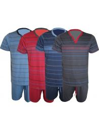 Mens Pyjama Set Shorts Jersey Cotton Tee V Neck Lounge Sleepwear M to XXL