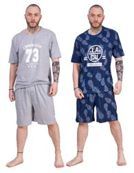 Mens Pyjama Shorts Crew Neck Printed 100% Cotton Jersey Loungewear Set M to XXL