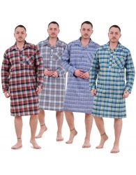 Mens Nightshirts Woven Check Cotton Blend Loungewear Regular Big Size M to 5XL