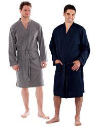 Mens Jersey Cotton Kimono Robe Lightweight Gown Lounge Heritage Nightwear M-XXL
