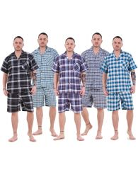 Mens Yarn Dyed Woven Pyjama Set Regular Big Size Check Cotton Blend Shorty M-5XL