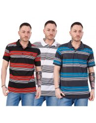 Mens Casual Shirts Tops Striped Regular Fit Tees Classic T-Shirts Black S to XXL
