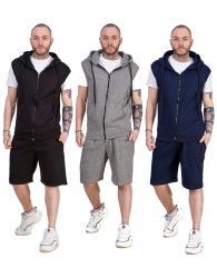 Mens Hoodie & Short Tracksuit Set Sleeveless Zipper Pockets Casual Tops S to XL