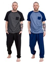 Mens 100% Jersey Cotton Pyjama Set Crew Neck Pocket long cuff pant Lounge wear