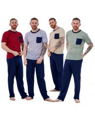 Mens Pyjama Sets Jersey Crew Neck Pocket Lounge Sleepwear Soft PJ's M to XXL