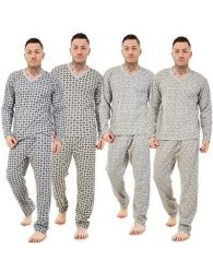 Mens Fleece Pyjama Set Long Sleeve Printed V Neck Top Thermal Lounge wear Mto3XL
