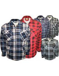 Men Fur Lined Hoang Thermal Quilted Full Sleeve Lumberjack Workshirt Coat Jacket