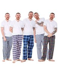 Mens Pyjama Bottoms Rich Cotton Woven Check Lounge Pant Nightwear Big 3XL to 5XL