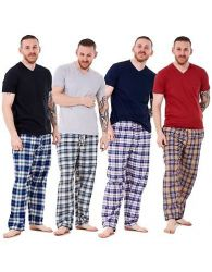 Mens Pyjama Set Cotton Woven Check Long Bottoms Lounge Pants Lightweight T-Shirt