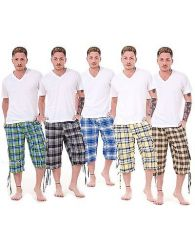Mens Check Shorts 3-4 Length by Malay Apparel Cotton Blend Lounge Casual Wear