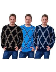 Mens Knitted Jumper Cross Knit Pullover Thick Warm Winter Casual Outwear M - 5XL