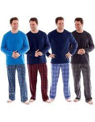 Mens fleece Pyjamas Checked Harvey James Heritage Lounge Wear Warm Soft PJ's