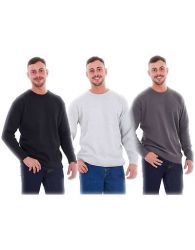 New Mens Plain Knitted Crew Neck Classic Full Sleeve Jumper Top Big Sizes
