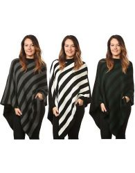 New Ladies Women Knitted Stripe Poncho One Size Plus Crew Neck Warm Sweater Tops