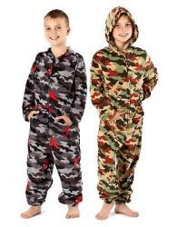 Boys Kids Hooded Camo Micro Fleece Jumpsuit All in One Nightwear Year 7 to 13