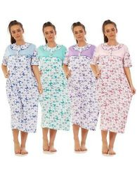 Women Nightwear 100% Cotton Floral Butterfly Short Sleeve Long Nightdress L-3XL
