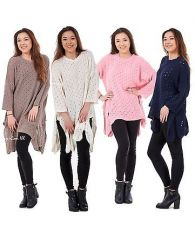 Ladies Crochet knitted Women Baggy top Dress Tunic 3-4 Sleeve Plus Sizes