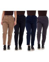 Ladies Women Trousers Rayon Cotton Pockets Elasticated Stretch Black pants 8-24