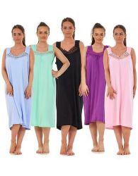 Women Plus Size Nightwear Plain 100% Cotton Sleeveless Long Nightdress 4XL - 6XL