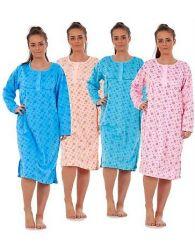 New Women fleece Nightwear SUN Print Long Sleeve Button Thermal Nightie M to 2XL