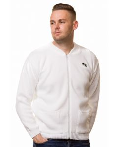 Mens Bowling Golf White Cardigans Zipper Bowls Logo Sports Jumpers Size S to 5XL