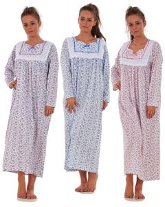 Women Nightwear Floral Print 100% Cotton Long Sleeve Long Nightdress M to XXXL