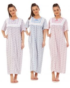 Women Nightwear Floral Print 100% Cotton Short Sleeve Long Nightdress M to XXXL