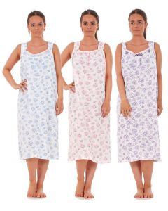 Women Nightwear Rose Heart Print 100% Cotton Sleeveless Long Nightdress M to 3XL