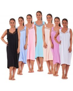 Ladies Nightwear V Neck Plain 100% Cotton Sleeveless Long Nightdress M to XXXL