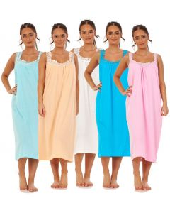 Ladies Plain Nightdress 100% Cotton V Neck lace strap Long Nightwear M to 3XL