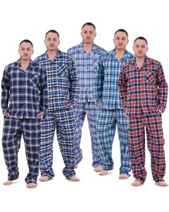 Mens Pyjama Set Yarn Dyed Woven Check Cotton Blend Loungewear Regular Big Size