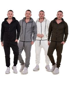 New Mens Slim Fit Tracksuit Set Branded Fleece Hooded Zipper Casual Wear S to XL